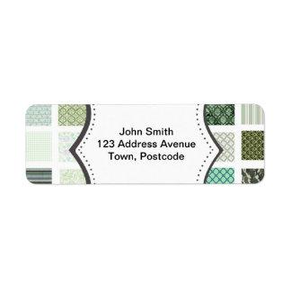 Modelo de mosaico verde del edredón etiqueta de remite