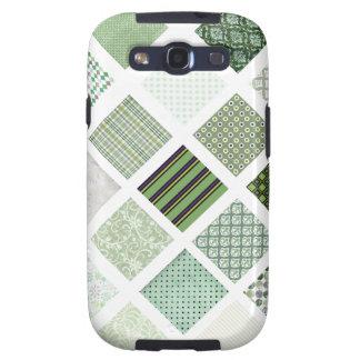 Modelo de mosaico verde del edredón galaxy s3 cárcasa
