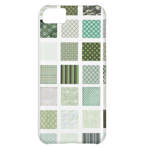Modelo de mosaico verde del edredón funda para iPhone 5C