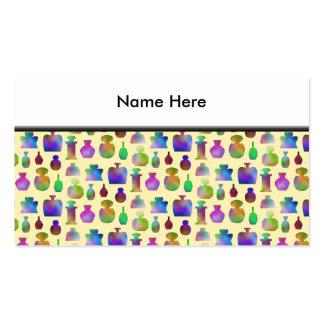 Modelo de muchas botellas de perfume coloridas tarjetas de visita