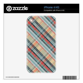 modelo de muy buen gusto colorido de la tela escoc calcomanías para iPhone 4
