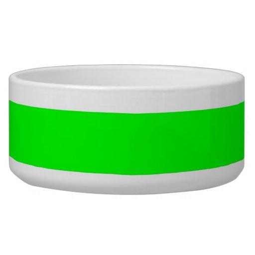 Modelo de neón brillante del verde lima y blanco d tazones para perro