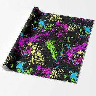 Modelo de neón colorido negro de la salpicadura de papel de regalo
