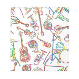 Modelo de neón de la música libretas para notas