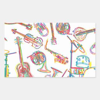 Modelo de neón de la música pegatina rectangular