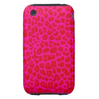 Modelo de neón del estampado leopardo de las rosas iPhone 3 tough carcasas