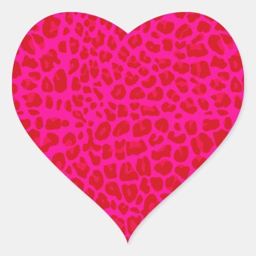Modelo de neón del estampado leopardo de las rosas pegatina corazon