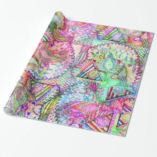 Modelo de neón femenino abstracto del bosquejo de papel de regalo