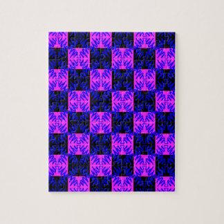 Modelo de neón óptico rosado azul de la ilusión de rompecabezas