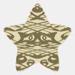 Modelo de Nouveau del arte en beige y Brown Pegatinas Forma De Estrella