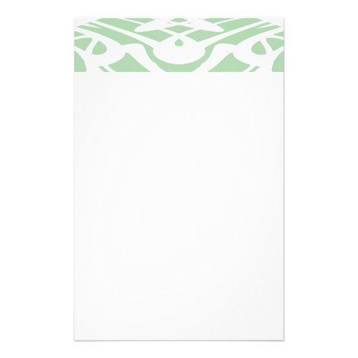 Modelo de Nouveau del arte en verde claro y blanco Papeleria