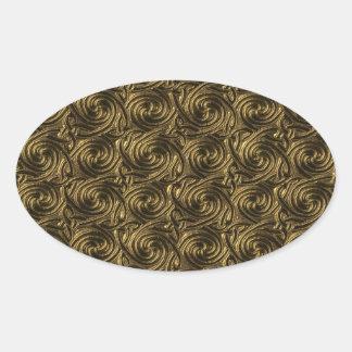 Modelo de nudos espiral céltico de oro antiguo pegatina ovalada