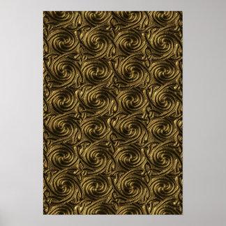 Modelo de nudos espiral céltico de oro antiguo póster
