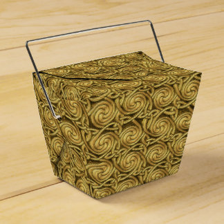 Modelo de nudos espiral céltico de oro brillante cajas para detalles de boda