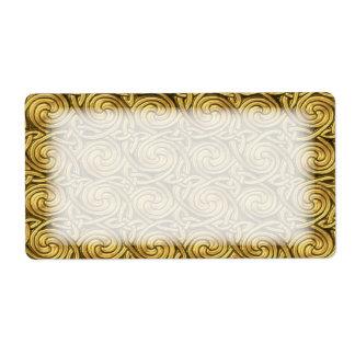Modelo de nudos espiral céltico de oro brillante etiqueta de envío