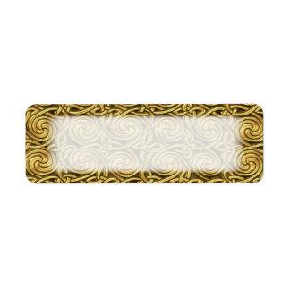 Modelo de nudos espiral céltico de oro brillante etiquetas de remite