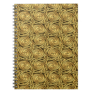 Modelo de nudos espiral céltico de oro brillante cuadernos