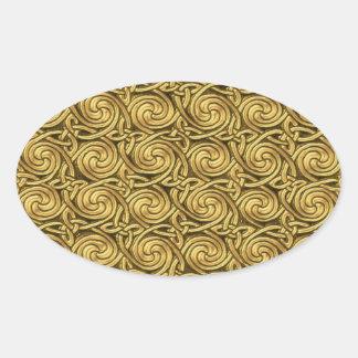 Modelo de nudos espiral céltico de oro brillante pegatina ovalada