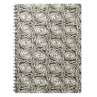 Modelo de nudos espiral céltico de plata brillante libros de apuntes