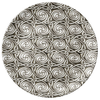 Modelo de nudos espiral céltico de plata brillante platos de cerámica