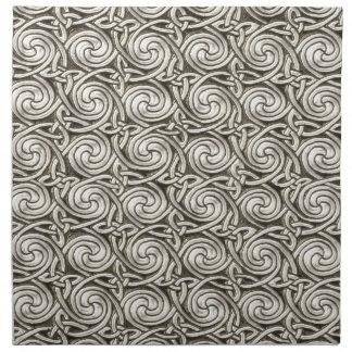 Modelo de nudos espiral céltico de plata brillante servilletas imprimidas
