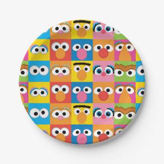 Modelo de ojos del carácter del Sesame Street Plato De Papel De 7 Pulgadas