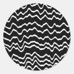 Modelo de onda blanco y negro etiquetas redondas