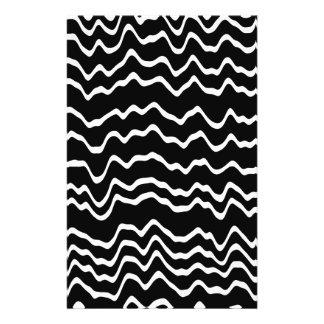 Modelo de onda blanco y negro flyer a todo color