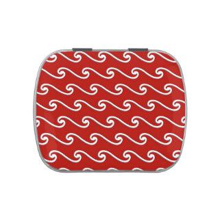Modelo de onda chino - blanco en de color rojo jarrones de dulces