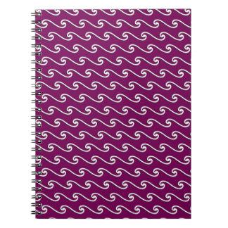 Modelo de onda chino - blanco en púrpura de la notebook