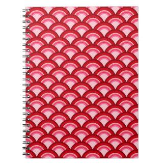 Modelo de onda del art déco - rojo y fucsia libreta espiral