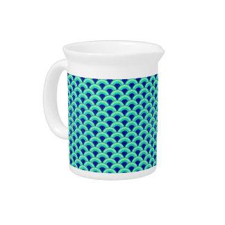 Modelo de onda del art déco - turquesa y cobalto jarras para bebida