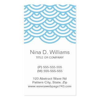 Modelo de onda japonés azul claro de moda vertical tarjeta personal