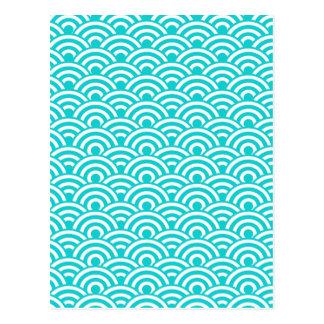 Modelo de onda japonés blanco azul de la postales