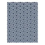 Modelo de onda japonés blanco de los azules marino tarjeta postal