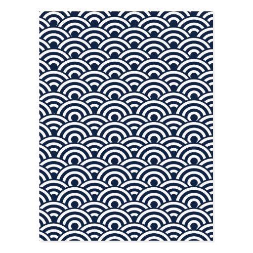 Modelo de onda japonés blanco de los azules postales