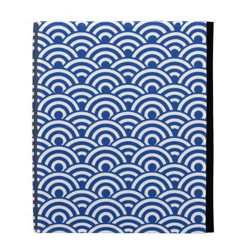 Modelo de onda japonés blanco del azul de cobalto