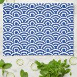 Modelo de onda japonés blanco del azul de cobalto toalla