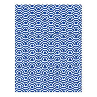 Modelo de onda japonés blanco del azul de cobalto postal