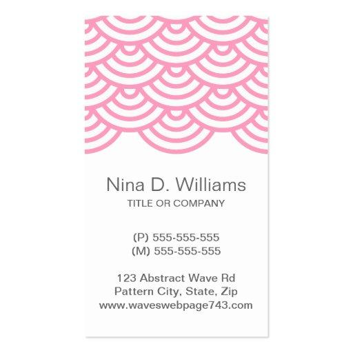 Modelo de onda japonés rosado de moda vertical tarjetas de visita