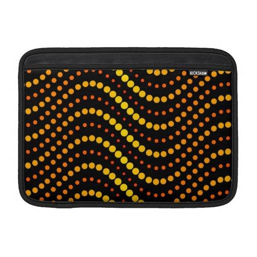 Modelo de ondas amarillo y anaranjado del círculo funda para macbook air