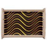 Modelo de ondas amarillo y anaranjado del círculo bandeja