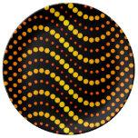 Modelo de ondas amarillo y anaranjado del círculo plato de cerámica