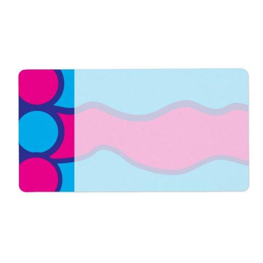 Modelo de ondas azul del color de las rosas fuerte etiquetas de envío