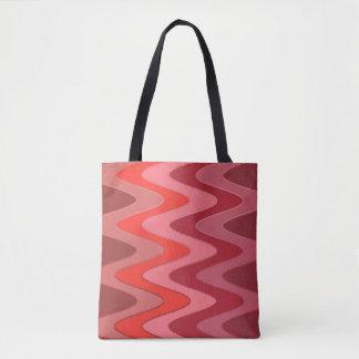 Modelo de ondas del sino - mezcla roja + sus ideas bolsa de tela