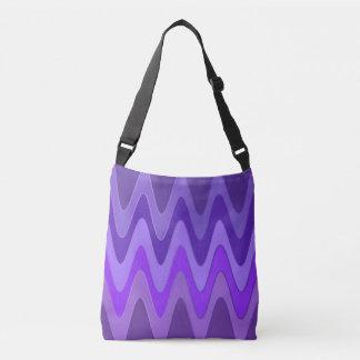 Modelo de ondas del sino - violeta púrpura + sus bolsa cruzada