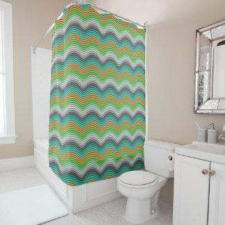 Modelo de ondas retro de la verde lima anaranjada cortina de baño