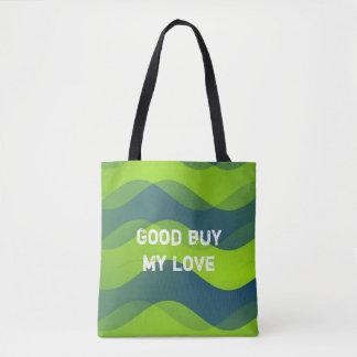 Modelo de ondas suave - azulverde + sus ideas bolsa de tela