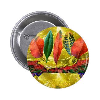Modelo de oro ASOMBROSO de la hoja de la flor n Pin Redondo De 2 Pulgadas