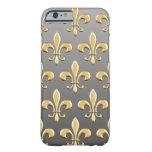 Modelo de oro de la flor de lis en pendiente funda de iPhone 6 barely there